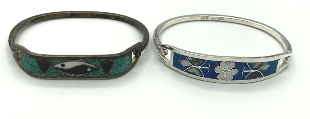2 MEXICO BRACELETS INLAY STERLING