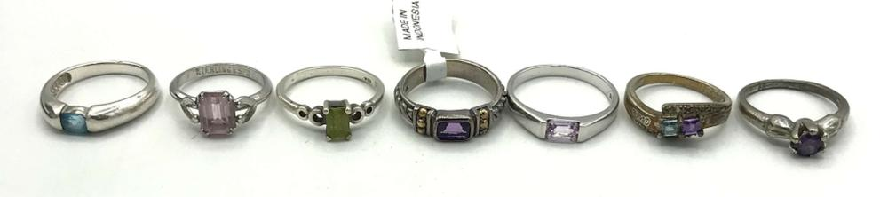 7 STERLING RINGS W SMALL STONES