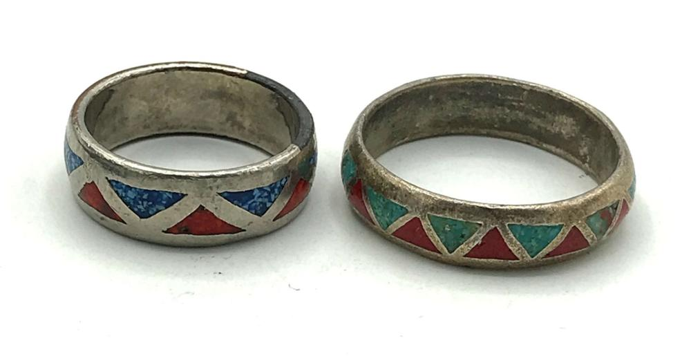 2 RING BANDS WITH TURQUOISE/ CORAL INLAY