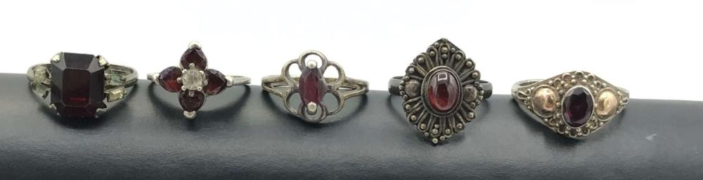 5 STERLING RINGS WITH RED STONES VINTAGE