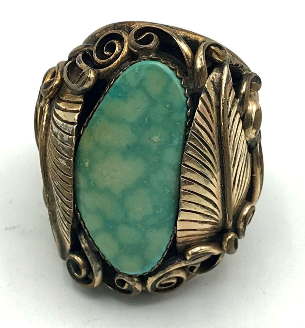 12KT G.F RING NAVAJO TURQUOISE SIZE 9