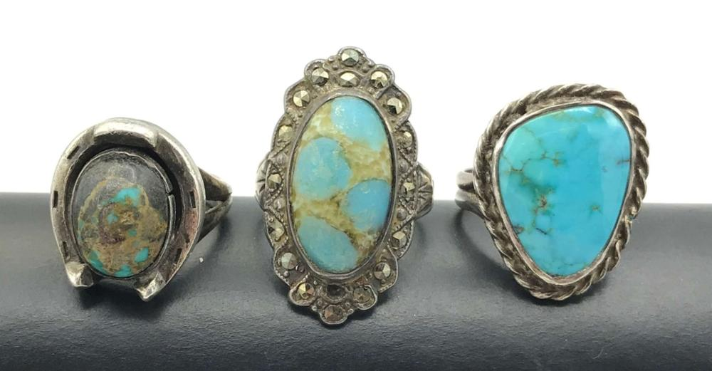 3 RINGS WITH TURQUOISE STONES