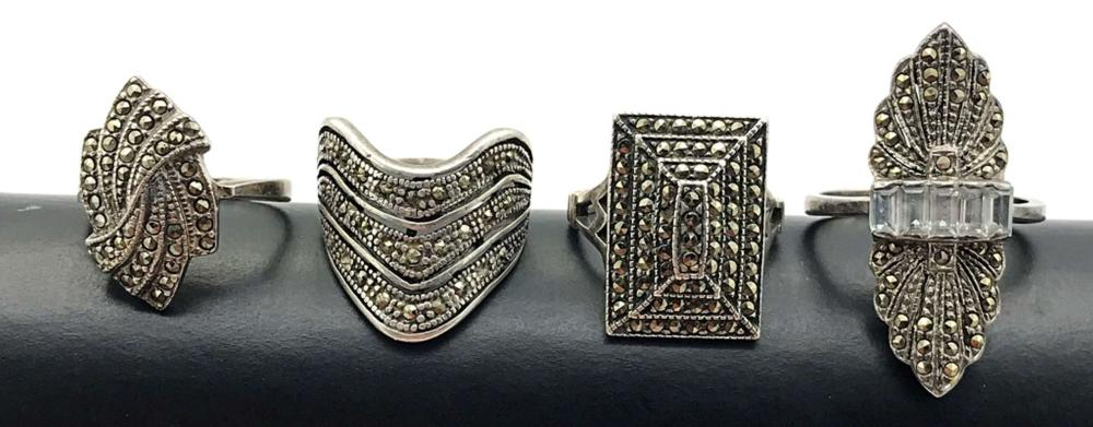 4 FLASHY MARCASITE RINGS STERLING
