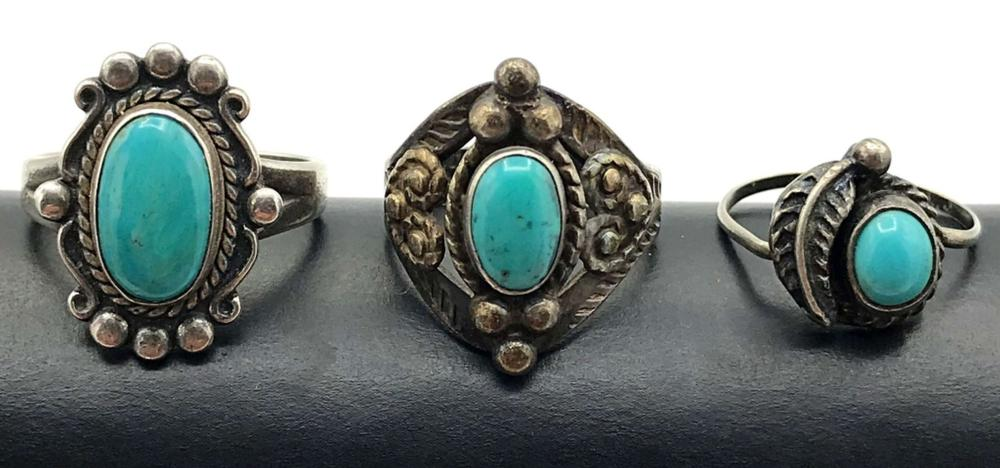 3 RINGS WITH TURQUOISE STONES .925