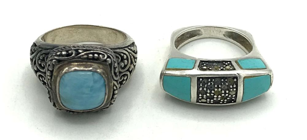 2 TURQUOISE RINGS STUNNING! STERLING!