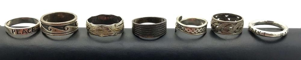 7 RING BANDS W DESIGNS STERLING