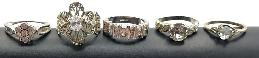 5 STERLING RINGS/ IMITATION DIAMONDS