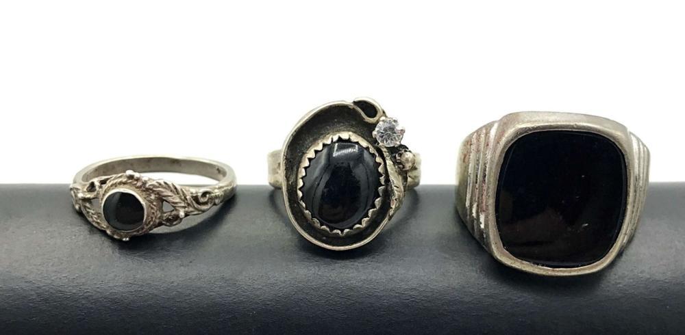 3 BLACK STONE RINGS STERLING