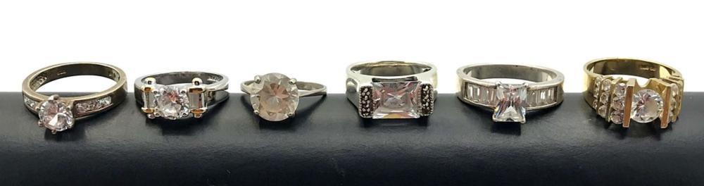 6 STERLING RINGS W FAKE DIAMONDS PRETTY!