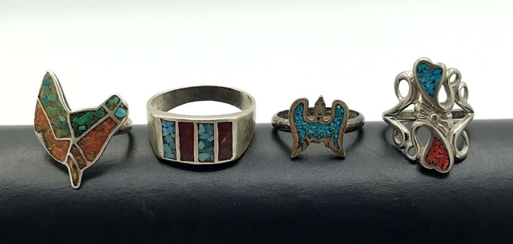 4 NAVAJO RINGS WITH INLAY STONES