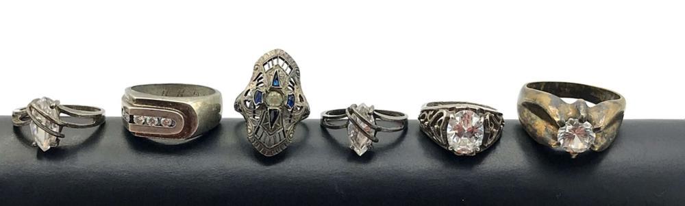6 STERLING TONED RINGS W FAKE DIAMONDS