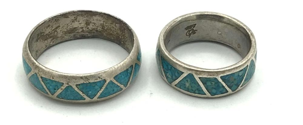 2 TURQUOISE INLAY STERLING BANDS