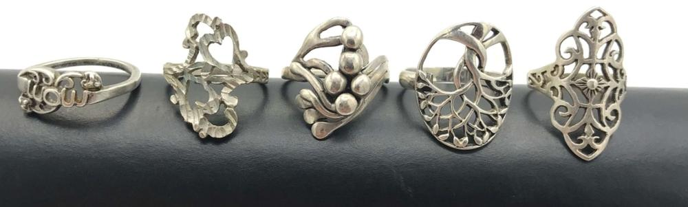 5 STERLING RINGS WITH NO STONES