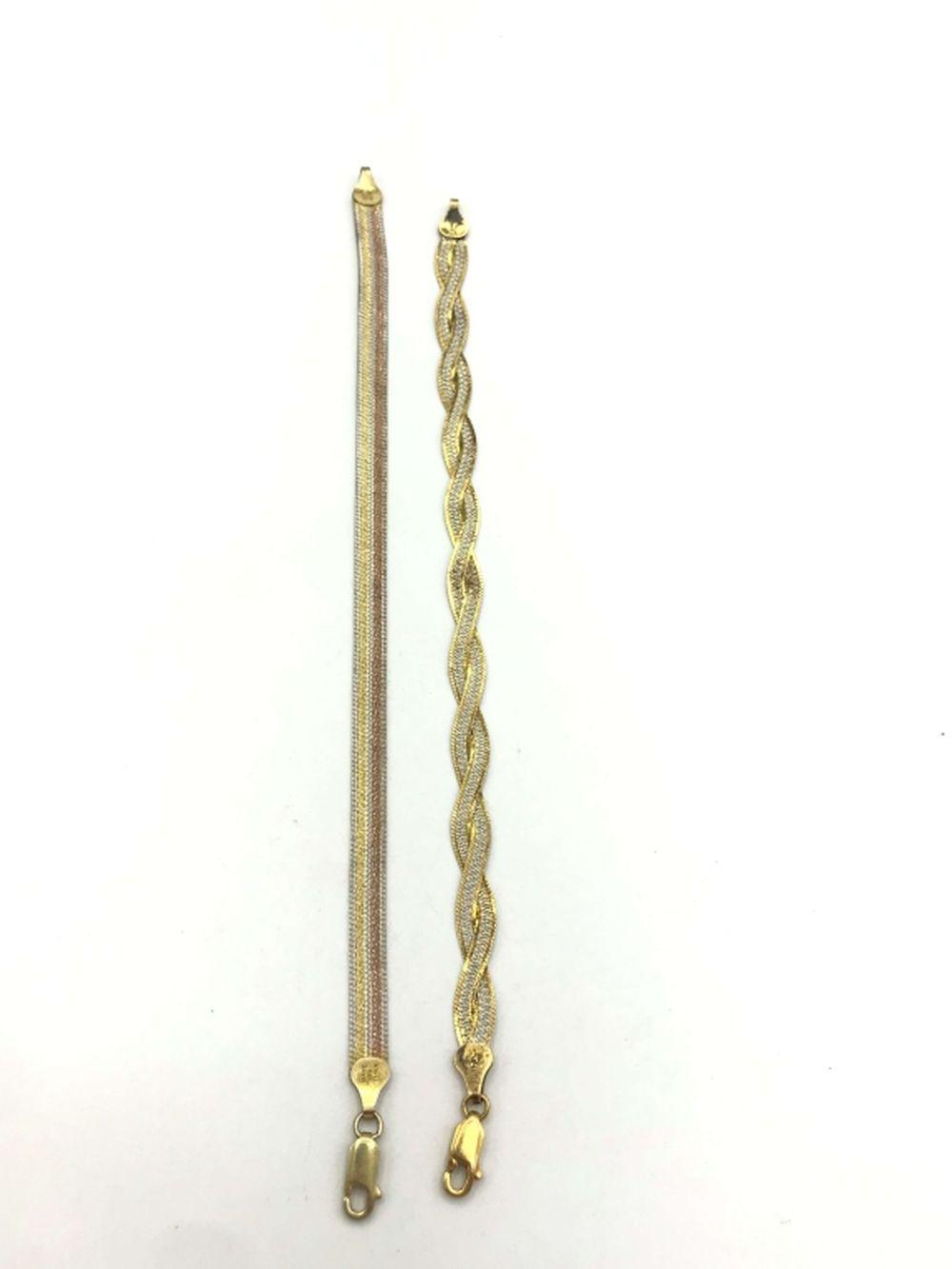 2 GOLD TONE BRACELETS W PRETTY STONE/DESIGN