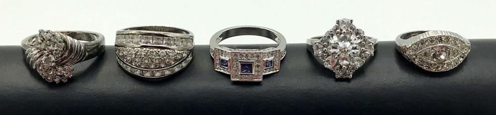 5 ELEGANT STERLING RINGS W FAKE DIAMONDS