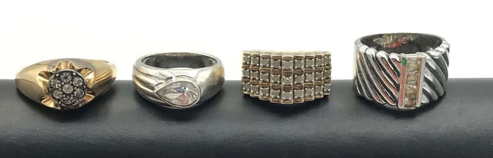 4 STERLING RINGS W FAKE DIAMONDS HEAVY!