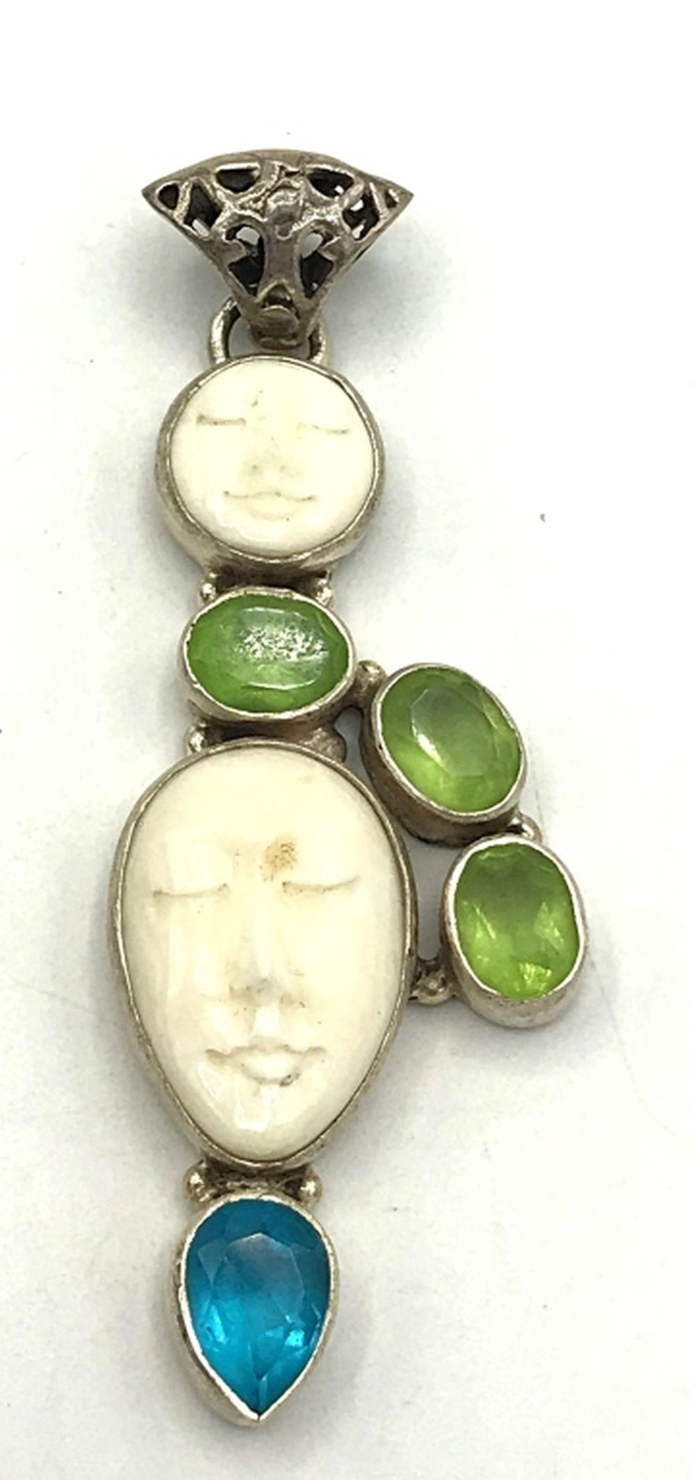 MOON STONE FACE PENDANT STERLING