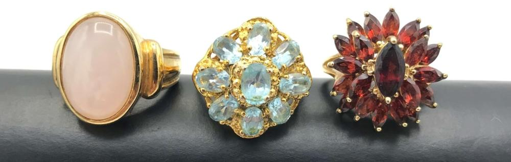 3 DAZZLING STERLING RINGS WITH HUGE STONES