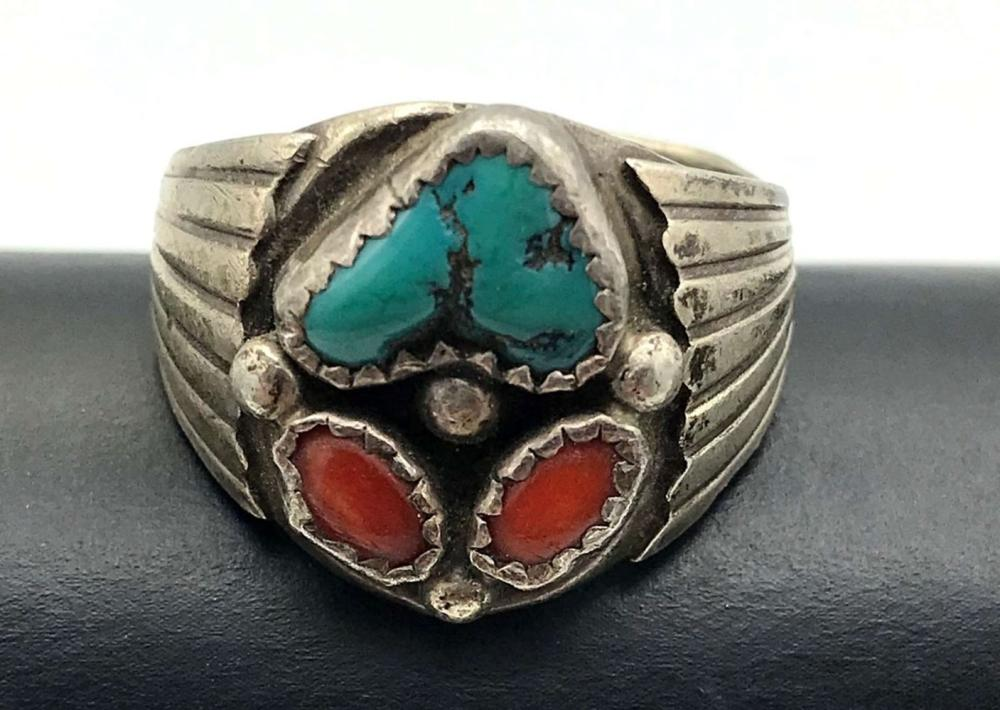 TOADLENA TURQUOISE CORAL RING SIZE 10