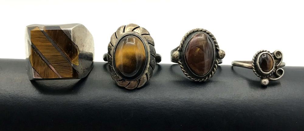 4 STERLING RINGS W BROWN STONES