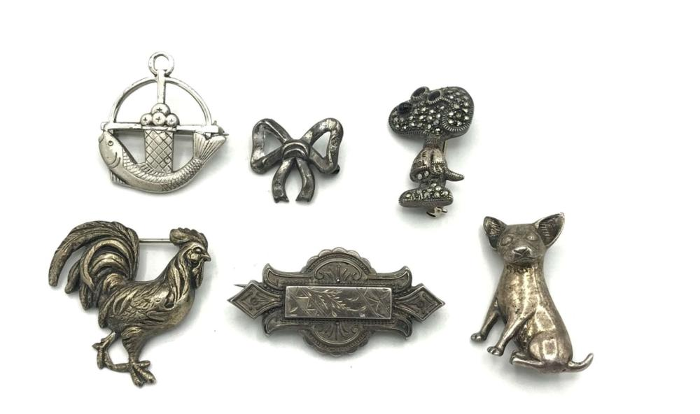 6 BROOCHES .925 (SNOOPY, BOW, ROOSTER, FISH