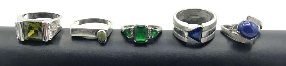 5-SIZE 7 STERLING RINGS W GREEN/BLUE STONES