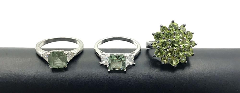 3 EXQUISITE.925 RINGS SIZE 7-8 GREEN STONES