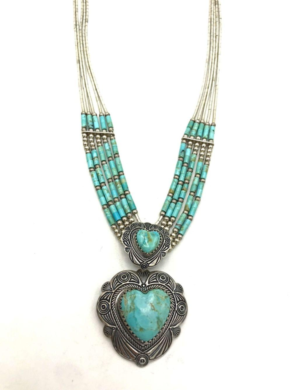 """""""Q.T"""" NAVAJO SIGN NECKLACE TURQUOISE HEART"""