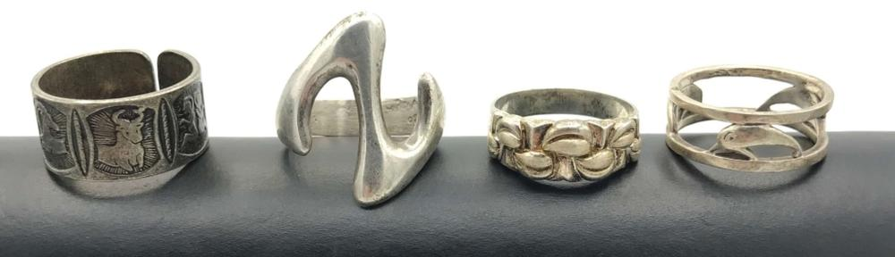 4 STERLING RINGS NO STONES SIZE 7