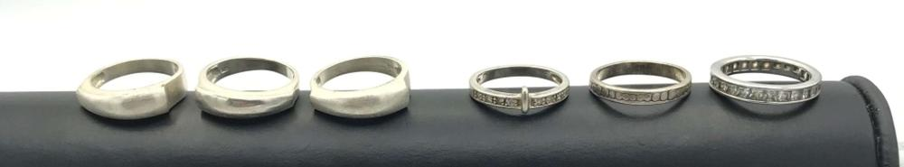 6 BAND RINGS SIZE 7 STERLING
