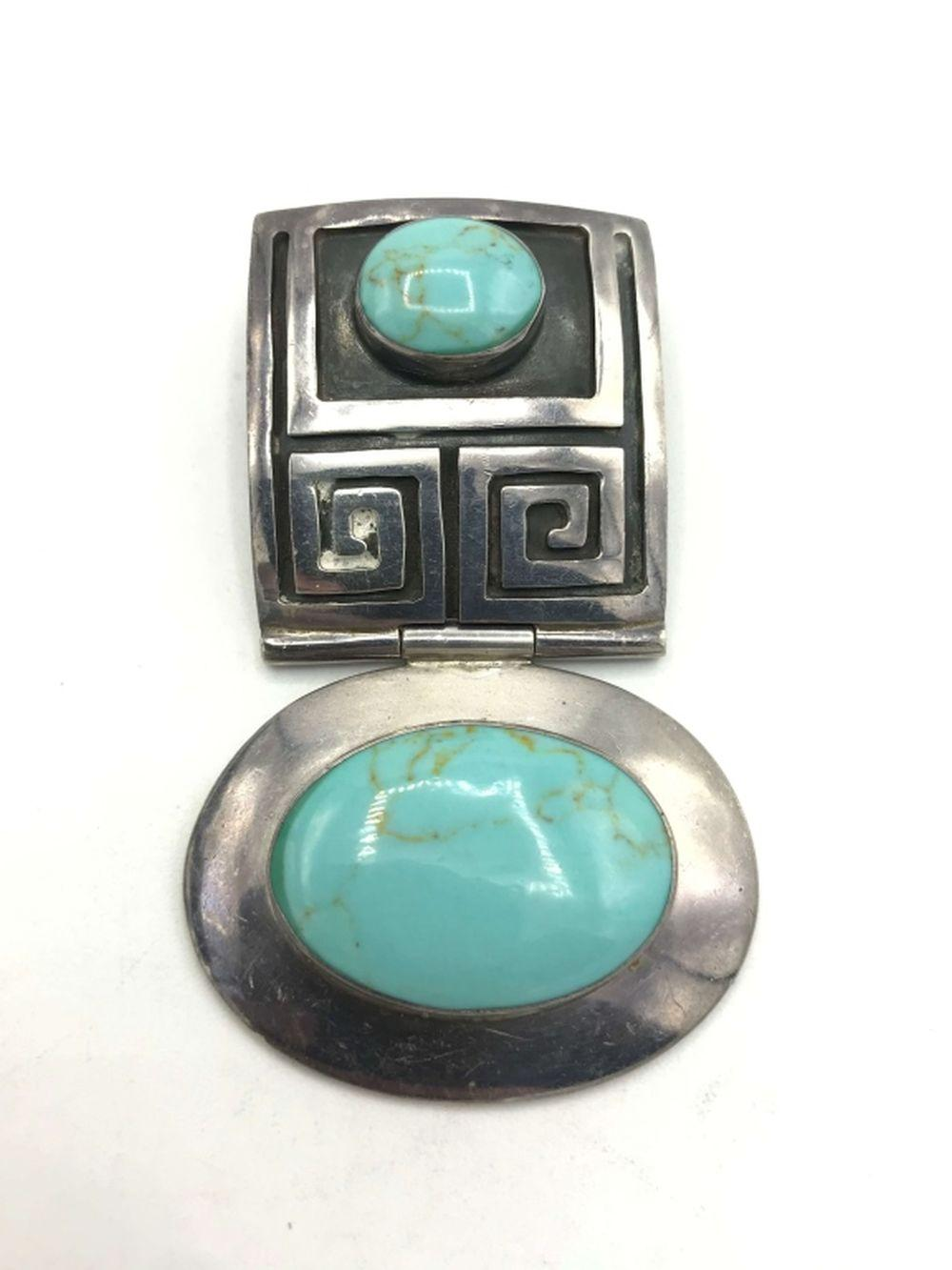 HUGE TURQUOISE PENDANT STERLING