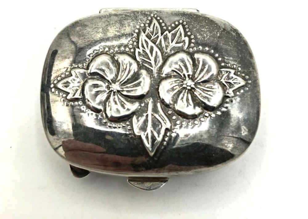 VINTAGE STERLING PILL BOX FLORAL