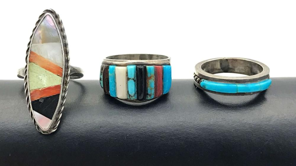 3 NAVAJO RINGS W MULTIPLE COLORS SIZE 6-7