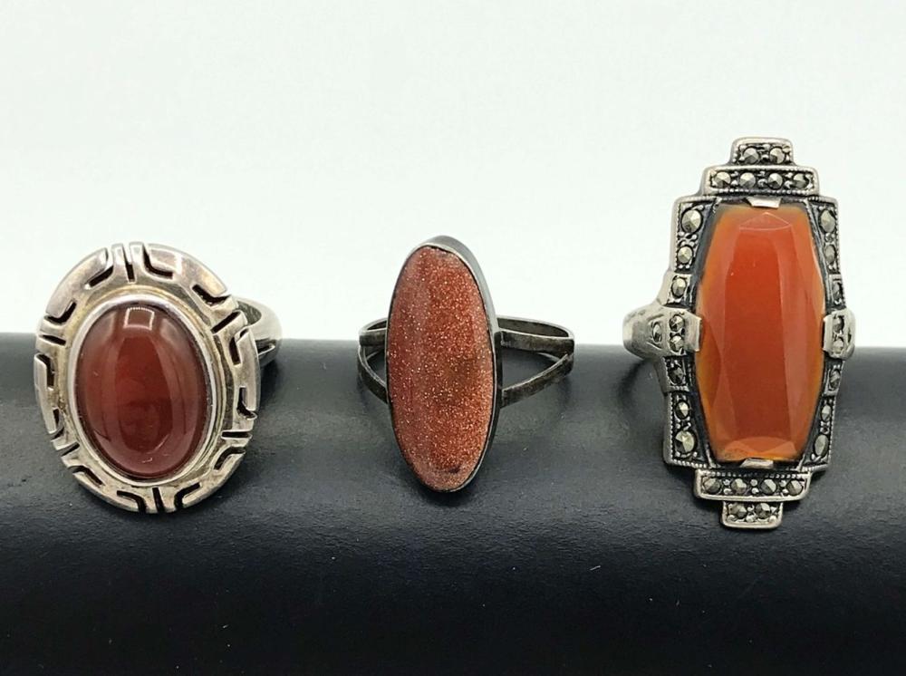 3 VINTAGE STERLING RINGS BROWN/RED STONES