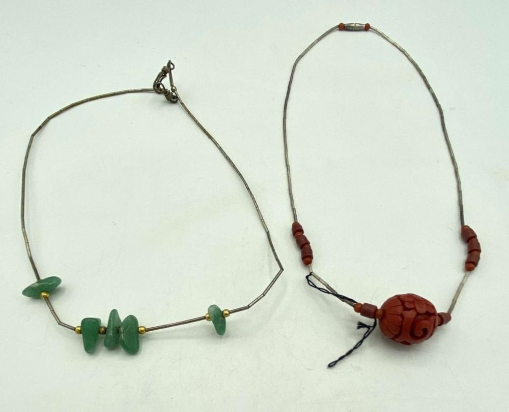 2 NECKLACES- WITH TUBE .925- STONES/WOOD