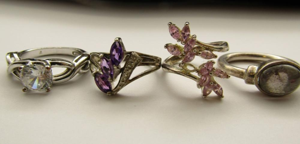 4 STERLING RINGS W STONES EXQUISITE! SIZE 6