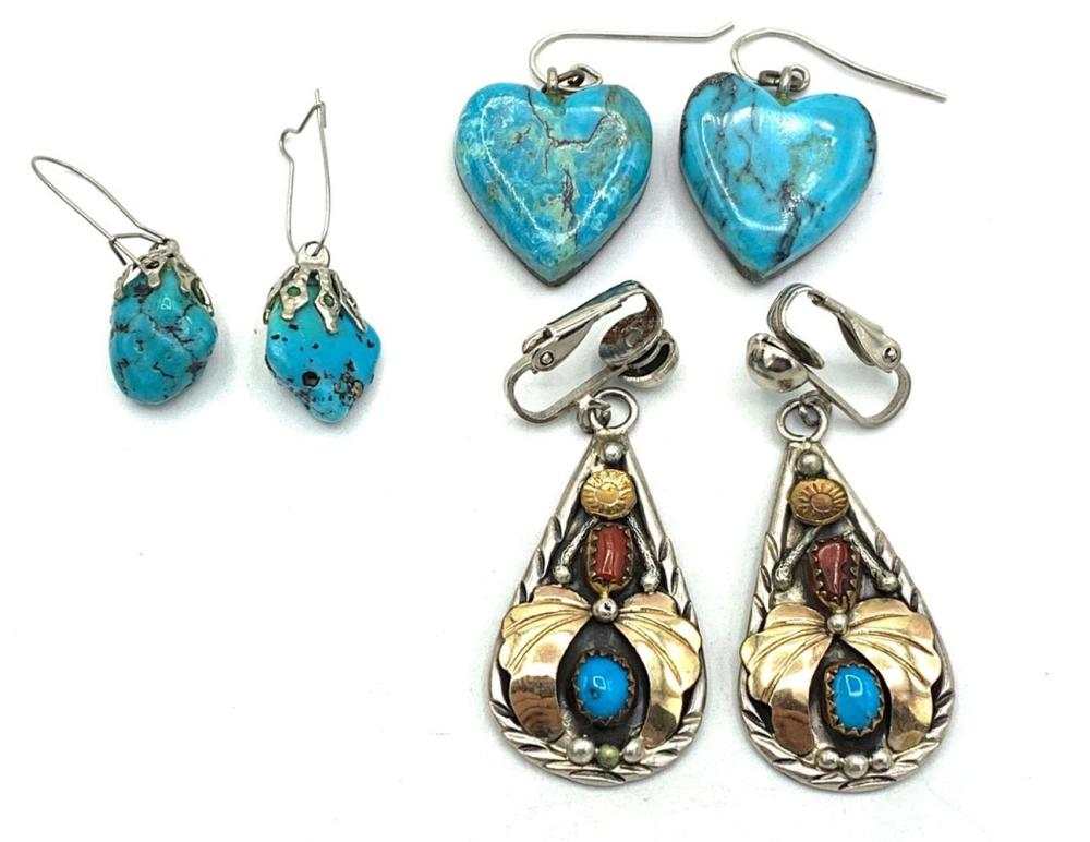 3 PAIRS OF TURQUOISE EARRINGS