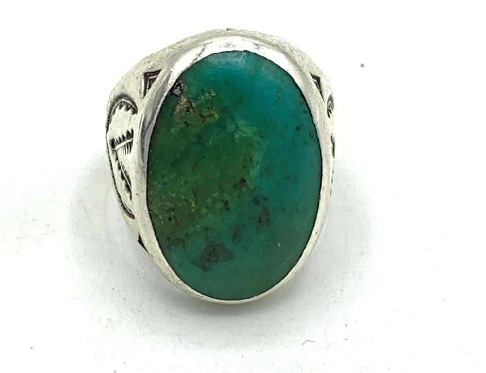 LARGE NAVAJO RING W BLUE/GREEN TURQ