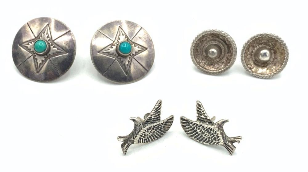 3 PAIRS STERLING EARRINGS NAVAJO/MEXICO