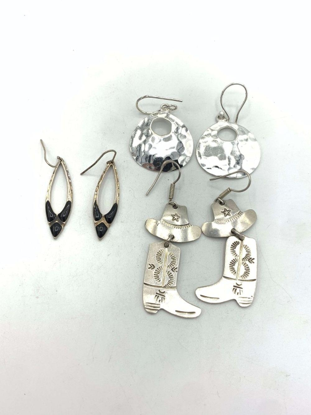 3 PAIRS .925 EARRINGS- MEXICO/BLACK/BOOTS
