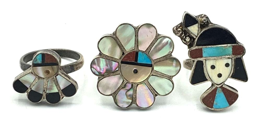 3 ZUNI RINGS AMAZING! INLAY! CLASSIC COLORS