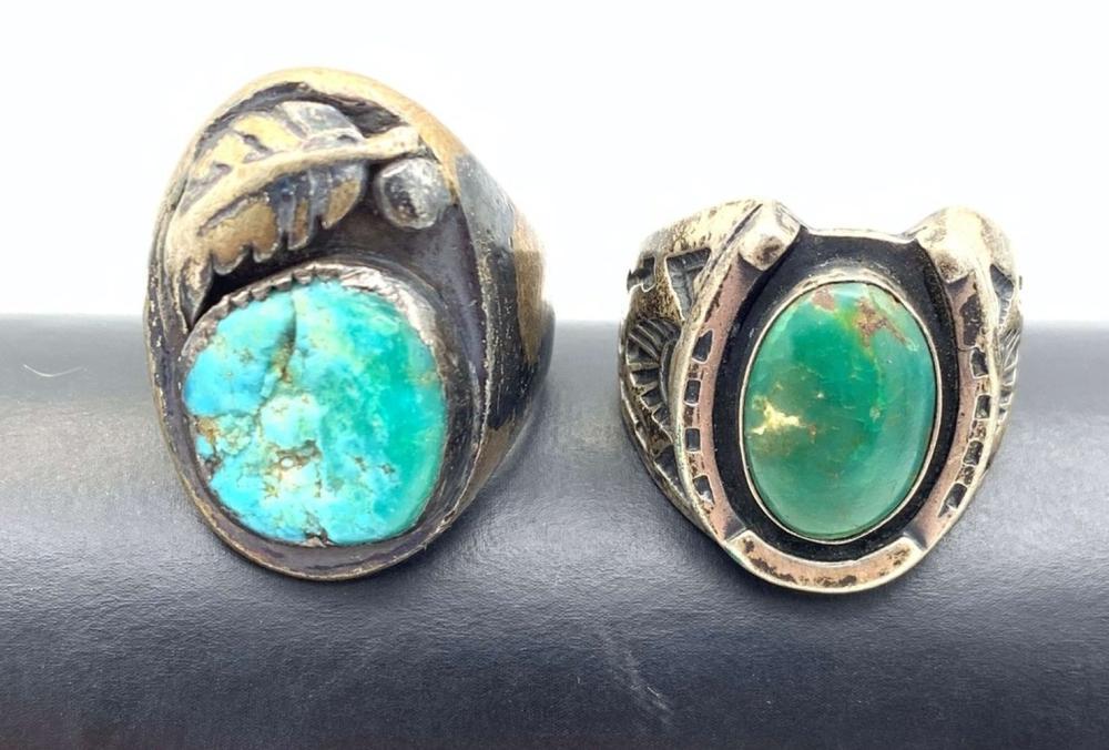 OLD HANDMADE NAVAJO RINGS GREEN/BLUE TURQ
