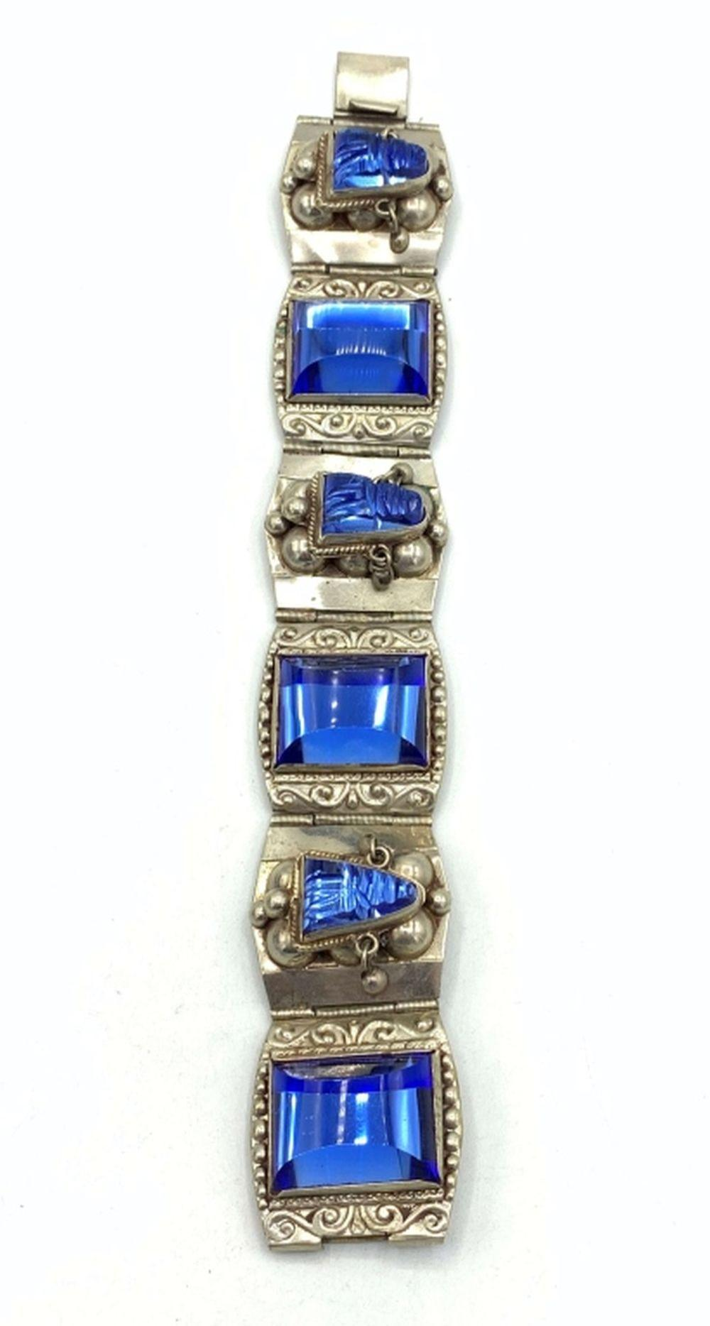 HECHO MEXICO AZTEC FACE BLUE GLASS .925