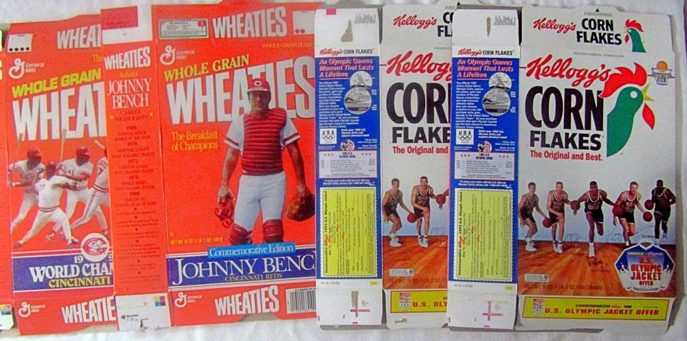 (4) CEREAL BOX w/SPORT PLAYERS (2) WHEATIES