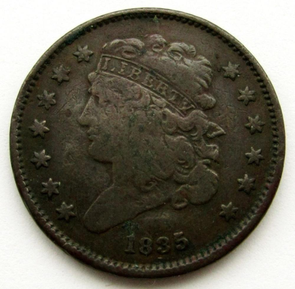 1935 CAPPED BUST HALF CENT FINE