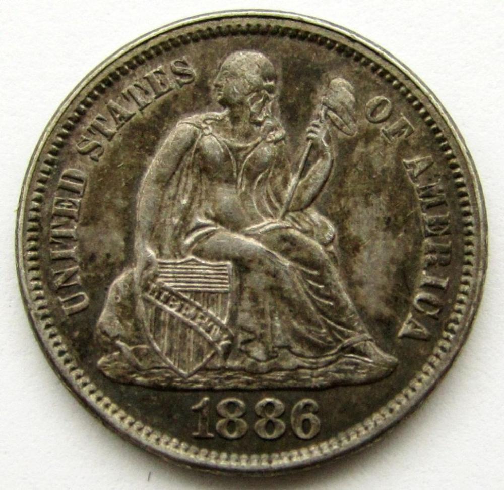 1886 SEATED DIME XF