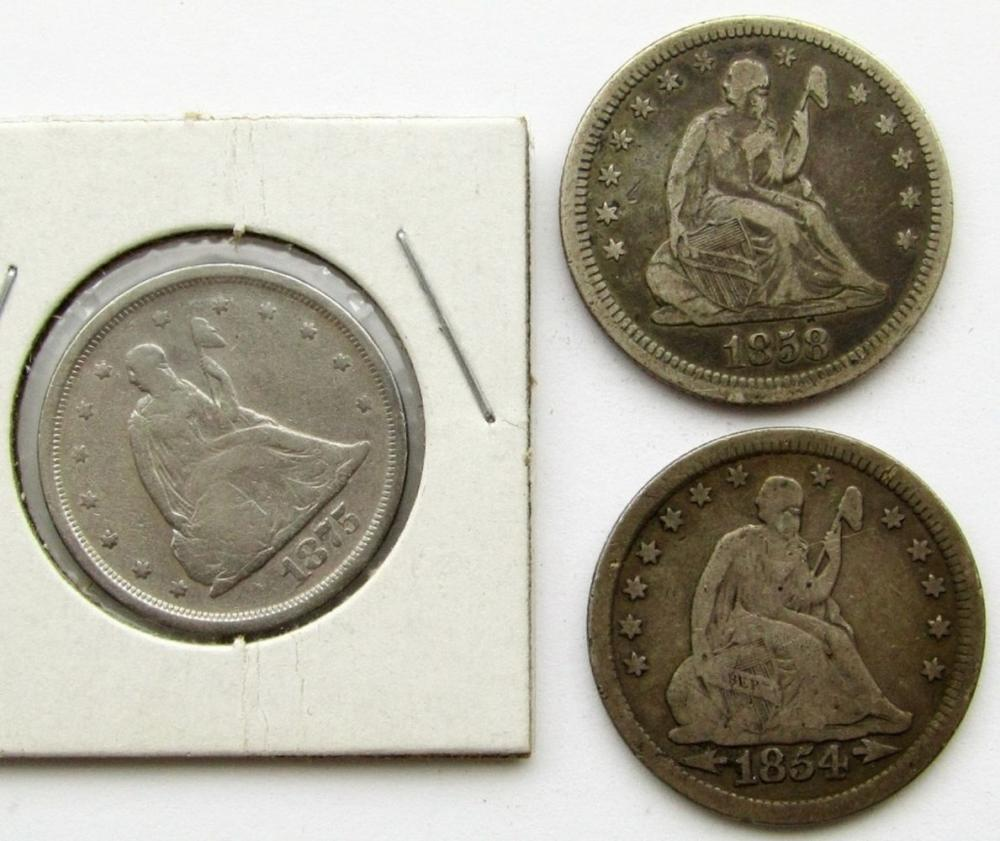 3-SEATED QUARTERS: 1854 ARROWS/DATE