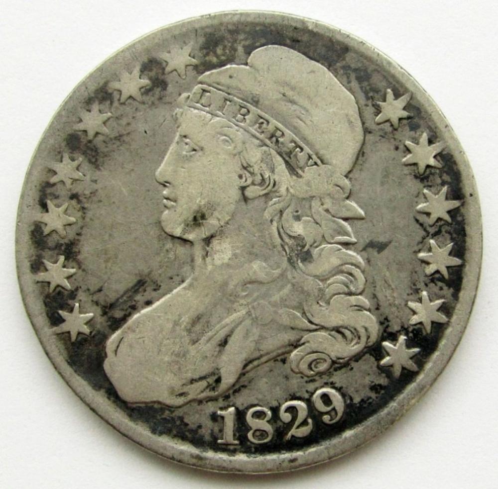 1829 CAPPED BUST HALF DOLLAR VG/F