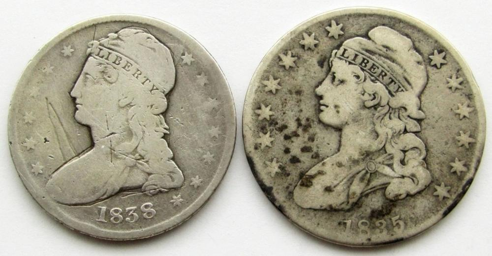 1835 & 1838 CAPPED BUST HALF DOLLARS