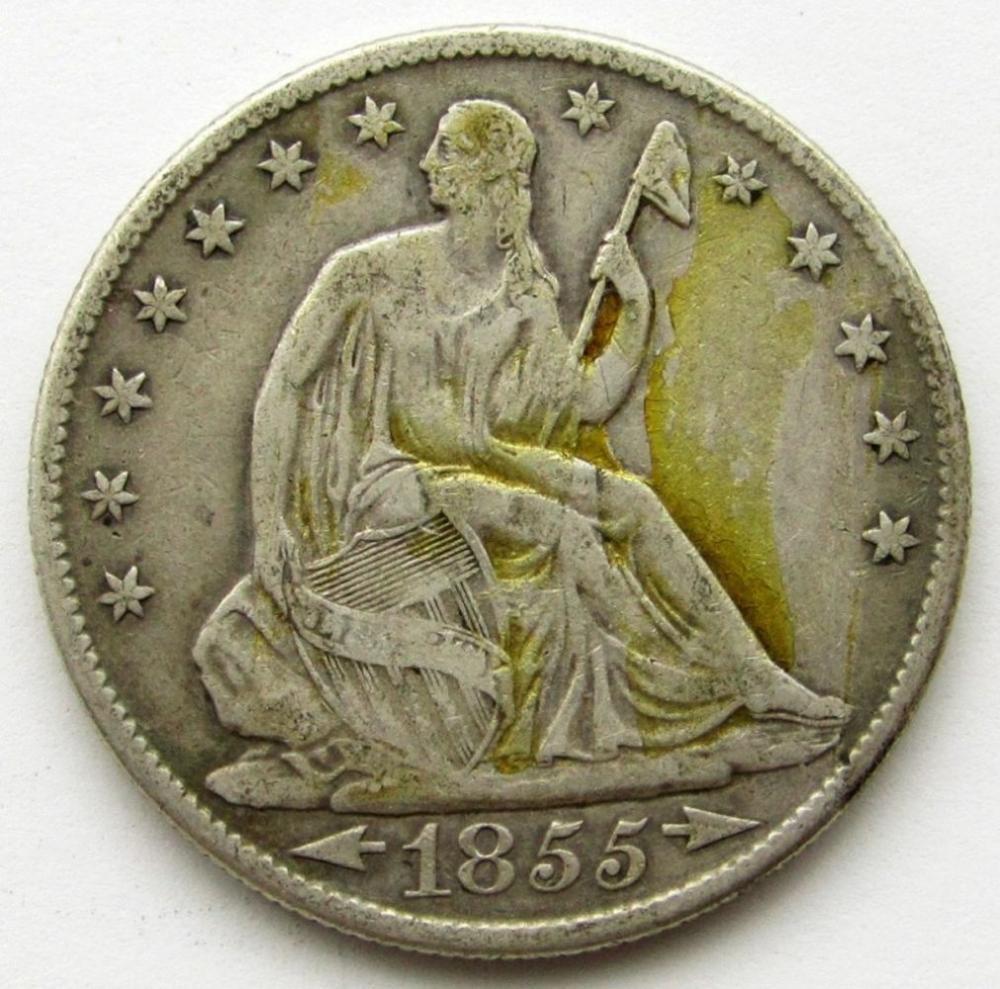 1855-O ARROWS NO RAYS SEATED HALF